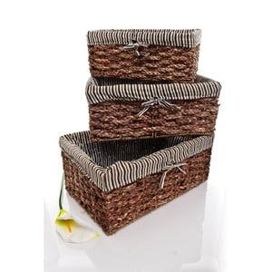 Sada tří proutěných košíků Lembranza, pruhované, hnědé