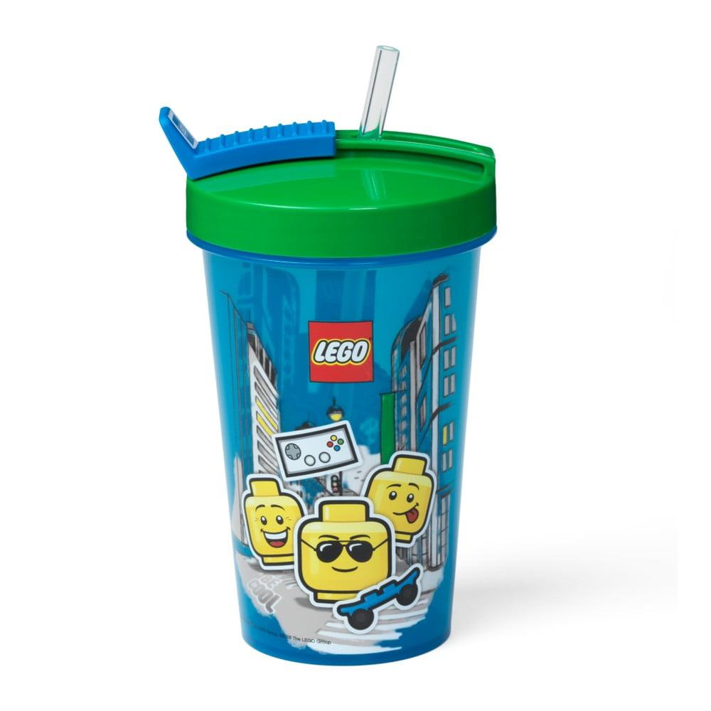 Modrý kelímek se zeleným víčkem a brčkem LEGO® Iconic, 500 ml