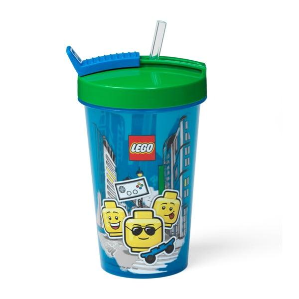 Pahar cu capac verde și pai LEGO® Iconic, 500 ml, albastru
