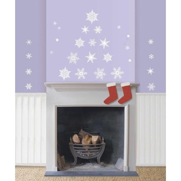 Sada 30 vánočních samolepek Fanastick Christmas White Flakes