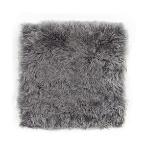 Pernă din blană cu fir scurt pentru scaun Grey, 37x37 cm