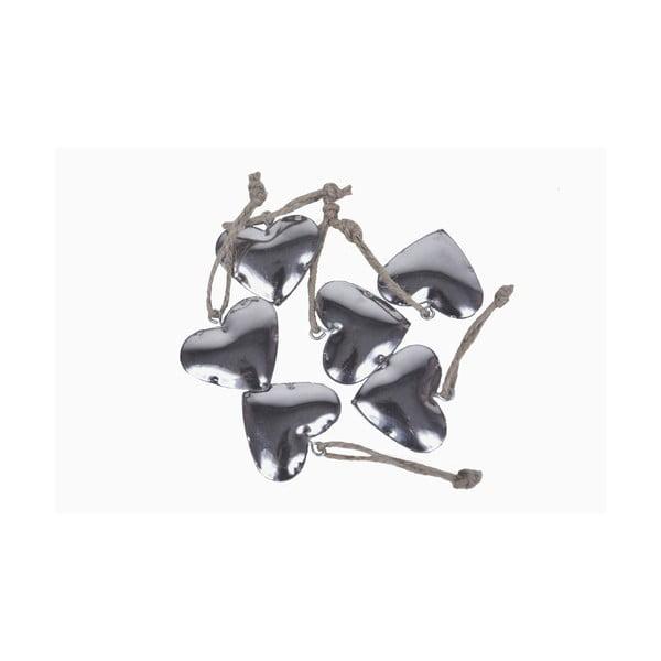 Sada 6 kovových závesných ozdôb Ego Dekor Festive Hearts