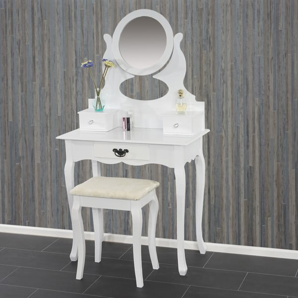 Toaletní stolek s taburetkou Mendler White
