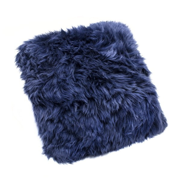 Tmavě modrý polštář z ovčí kožešiny Royal Dream Sheepskin,30x30cm