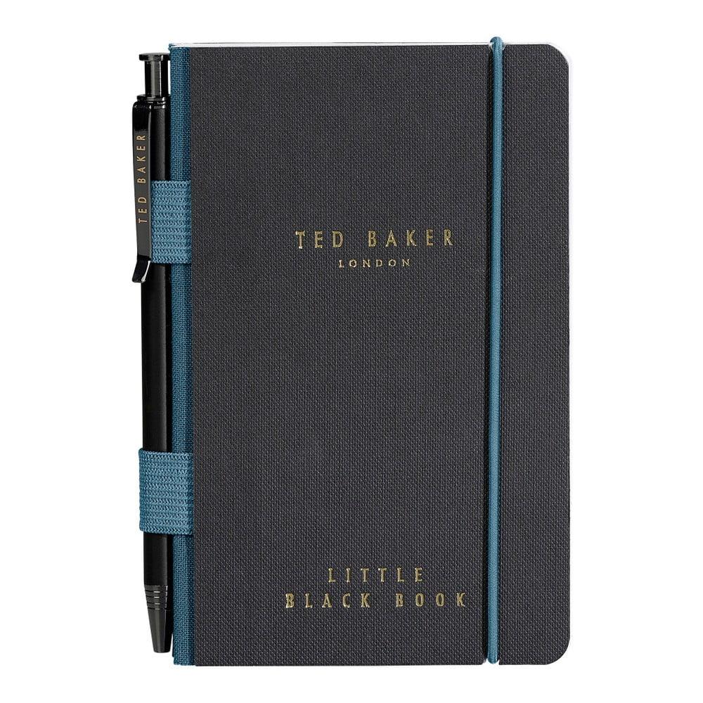 Černý zápisník s propiskou Ted Baker Monkian, 192stránek