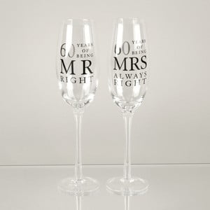Sada 2 skleniček na šampaňské k 60. výročí Amore Mrs. Always Right, 180ml