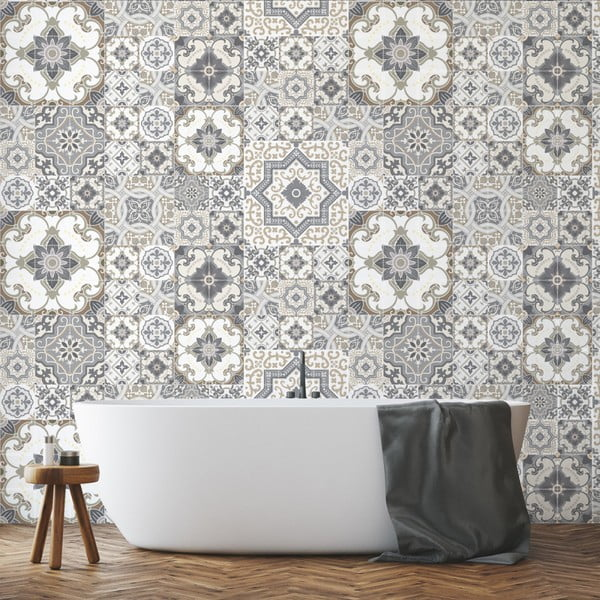 Sada 60 nástenných samolepiek Ambiance Tiles Azulejos Taiga, 10 × 10 cm