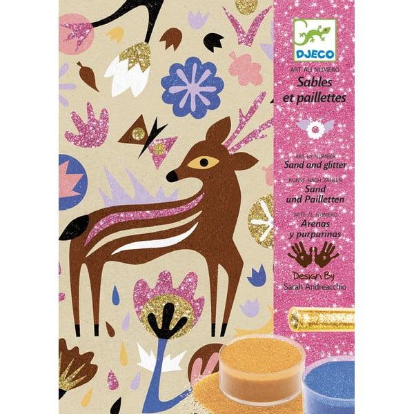 """Set creativ de colorat cu nisip pentru copii Djeco """"Pădure"""""""