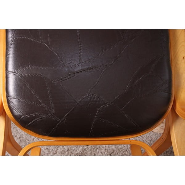 Houpací židle Shabby, medová s hnědým  polstrováním