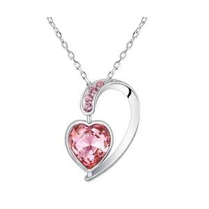 Náhrdelník s růžovými krystaly Swarovski Elements Crystals Heart Drop