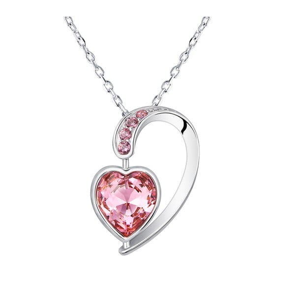 Colier cu cristale roz Swarovski Elements Crystals Heart Drop