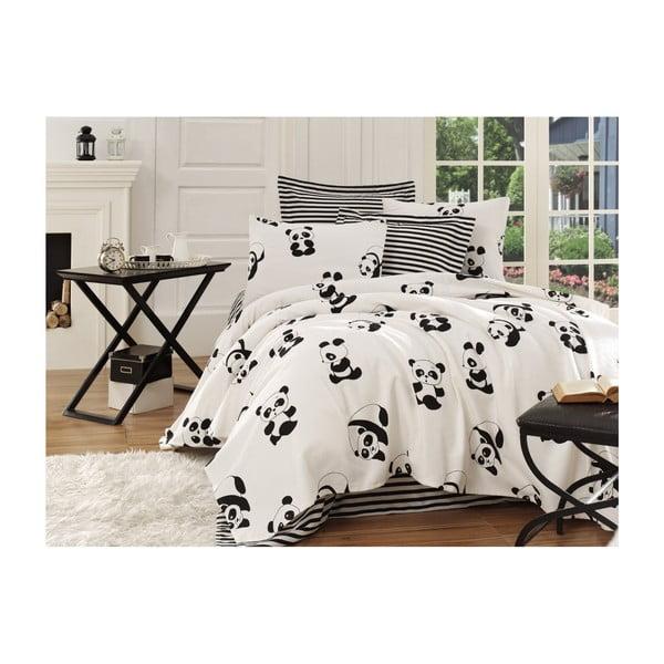 Panda fekete-fehér egyszemélyes pamut ágytakaró, 140x200cm