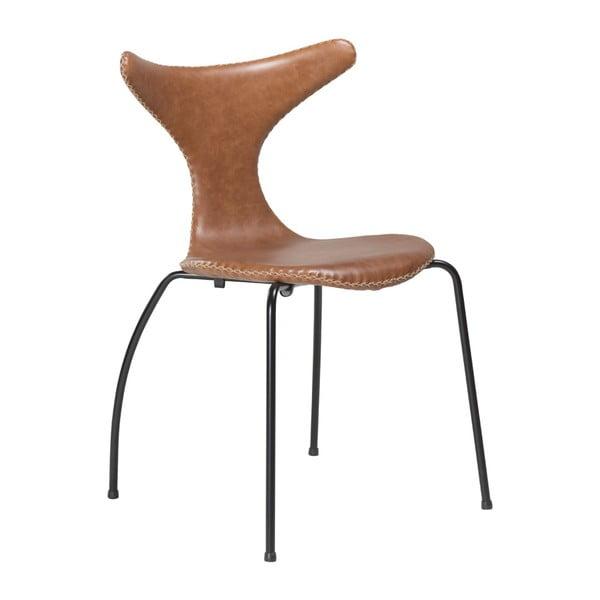 Hnědá kožená jídelní židle s černým kovovým podnožím DAN–FORM Denmark Dolphin