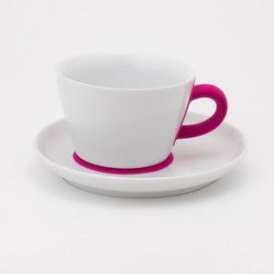 Šálek na cappuccino s podšálkem Touch! Five Senses, magenta