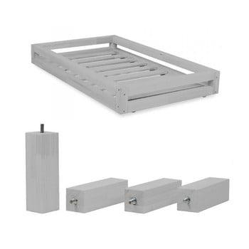 Set sertar gri și picioare înălțătoare din lemn de molid pentru patul Benlemi Funny, 80 x 140 cm