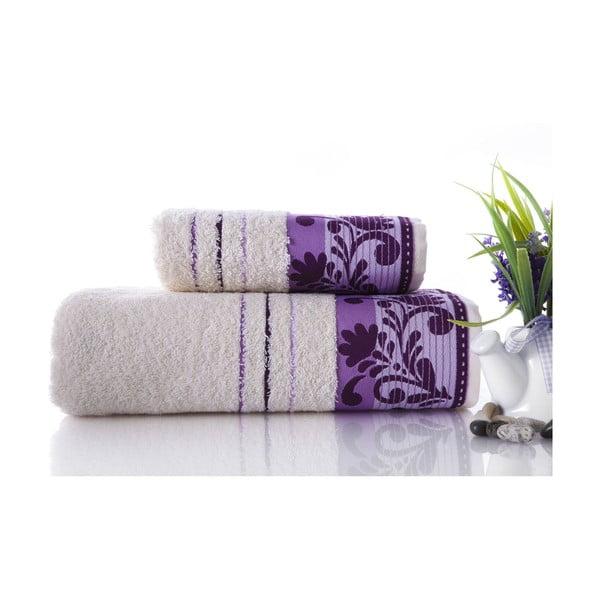 Set dvou ručníků Melodi Purple, 70x140 a 50x90 cm