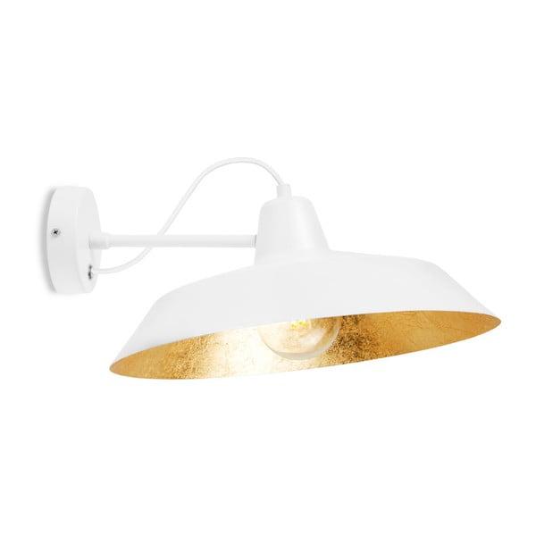 Bílé nástěnné svítidlo s detailem ve zlaté barvě Bulb Attack Cinco Basic