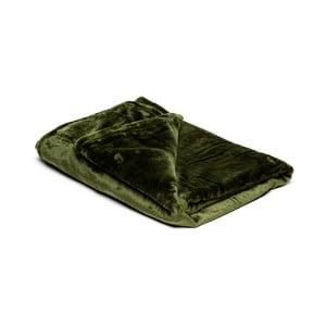 Olivově zelená mikroplyšová deka My House, 150x200cm