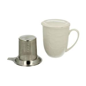 Bílý porcelánový hrnek s kovovým filtrem Duo Gift Hemingway, 300 ml