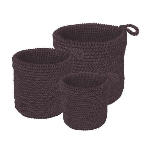 Sada 3 koupelnových košíků Black Baskets