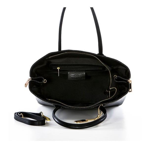 Černá kožená kabelka Federica Bassi Saffiano