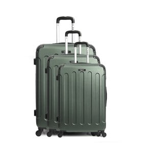 Sada 3 zelených cestovních kufrů na kolečkách Bluestar Vanity Cadenas