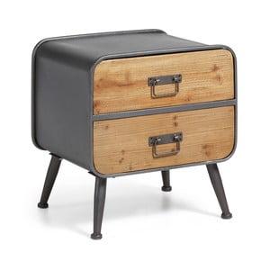 Dřevěný noční stolek s kovovou konstrukcí La Forma Helia, 48x38cm