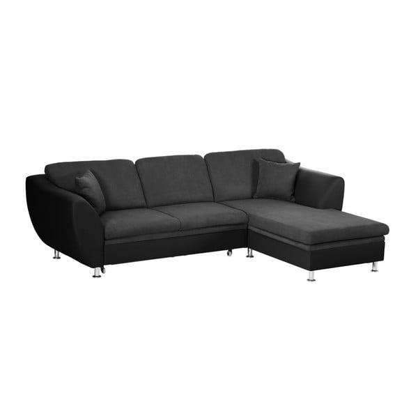 Canapea extensibilă cu șezlong pe partea dreaptă Florenzzi Maderna, negru