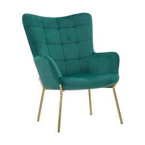 Smaragdově zelené křeslo s železnými nohami zlaté barvy Mauro Ferretti Onnimus