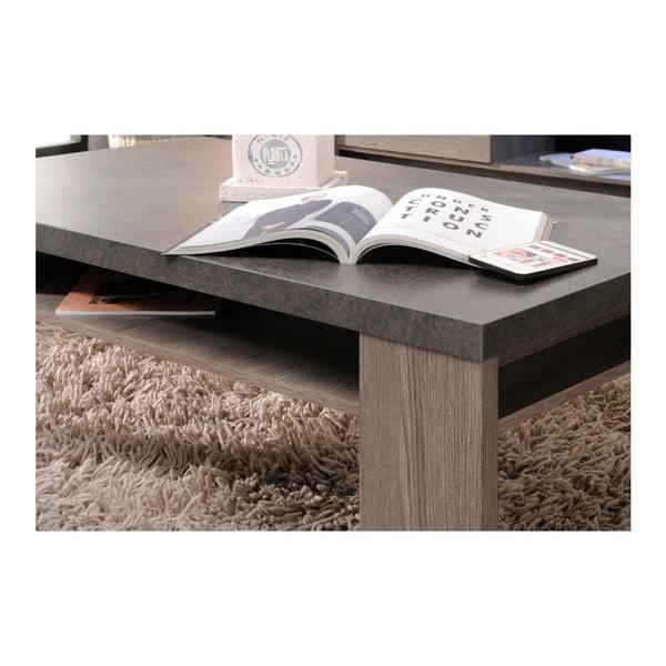 Konferenční stolek v dekoru dubového dřeva s detaily v betonovém dekoru Parisot Roye
