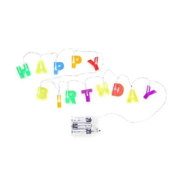 Barevný světelný LED řetěz Kikkerland Birthday, délka 122cm