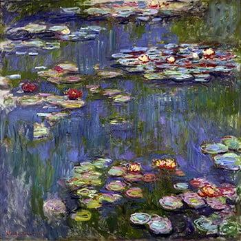 Reproducere pe pânză după Claude Monet - Water Lilies 3, 70 x 70 cm poza