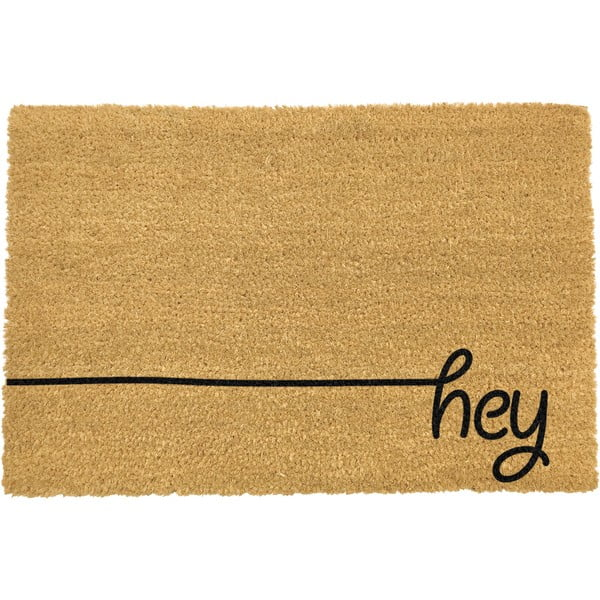 Černá rohožka z přírodního kokosového vlákna Artsy Doormats Hey Scribble,40x60cm
