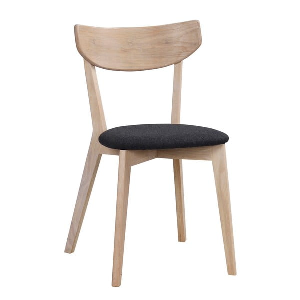 Matne lakovaná dubová stolička s čiernym sedákom Rowico Aegi
