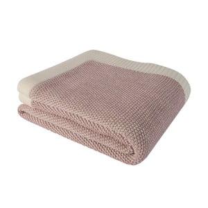 Růžová bavlněná deka Clen, 130 x 170 cm