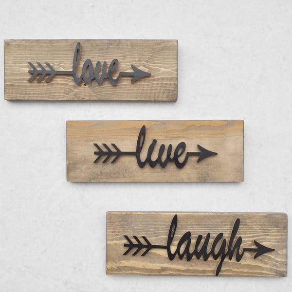 Sada 3 dřevěných nástěnných dekorací Black Love