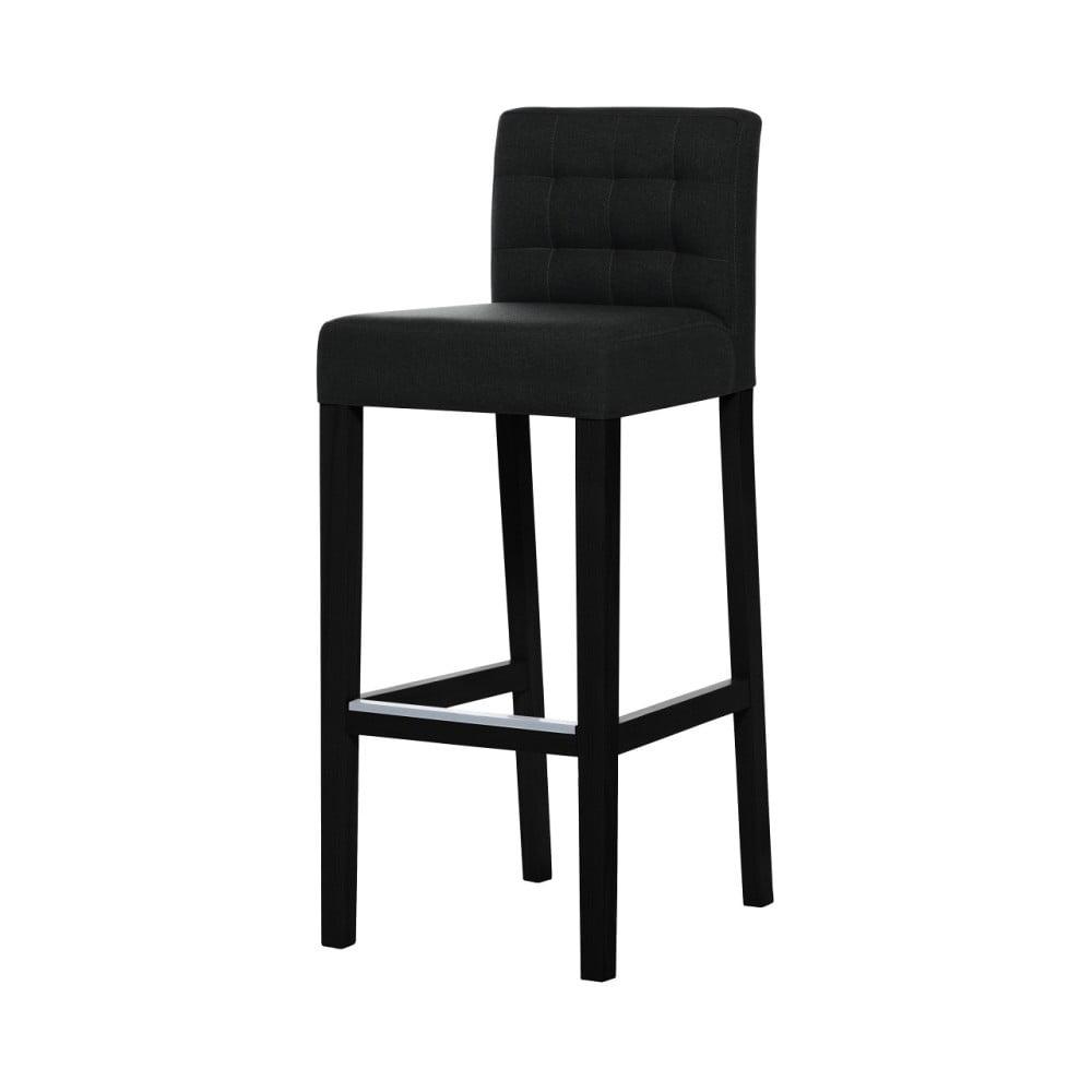 Černá barová židle s černými nohami Ted Lapidus Maison Jasmin