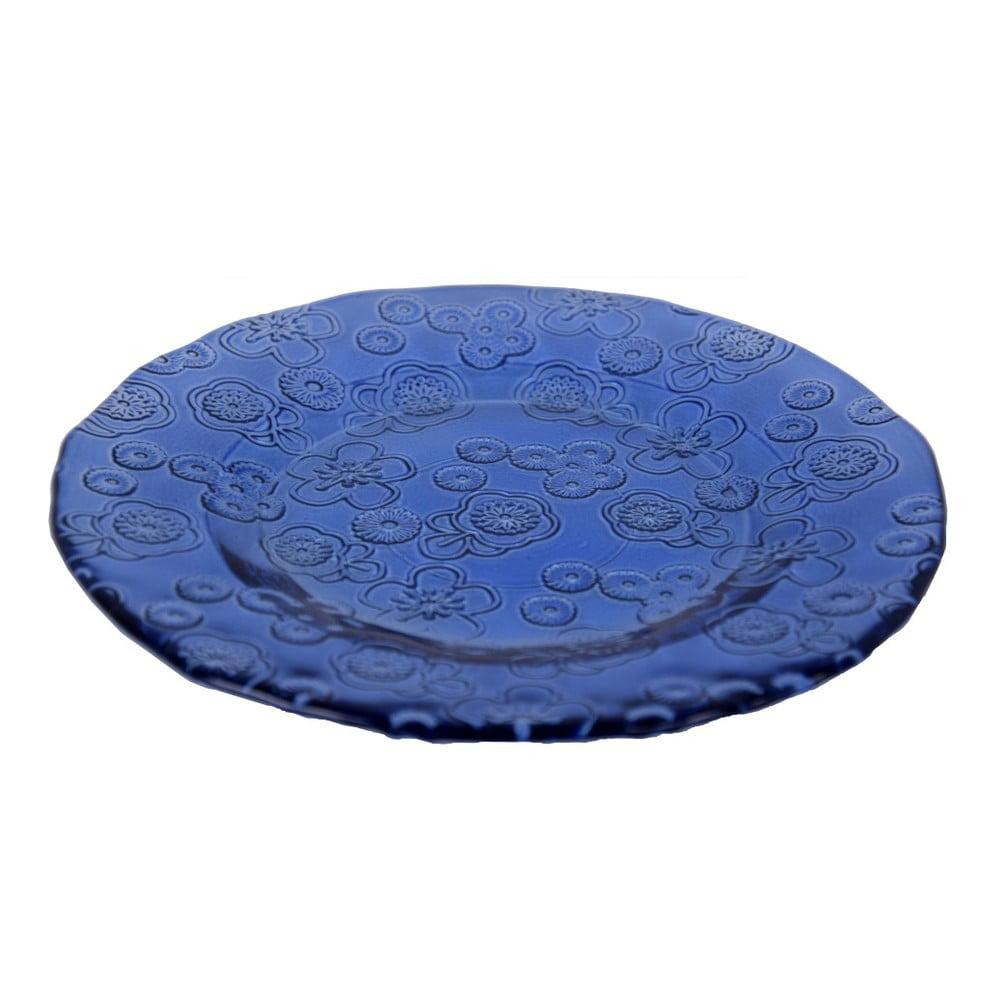Modrý skleněný talíř z recyklovaného skla Ego Dekor Flora, 20 cm