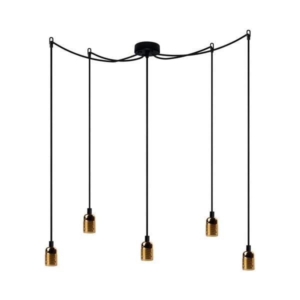Závěsné svítidlo s 5 černými kabely a zlatou objímkou Bulb Attack Uno Cassie