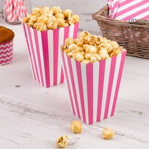 Sada 8 růžových papírových krabiček na popcorn Neviti Carnival Stripes