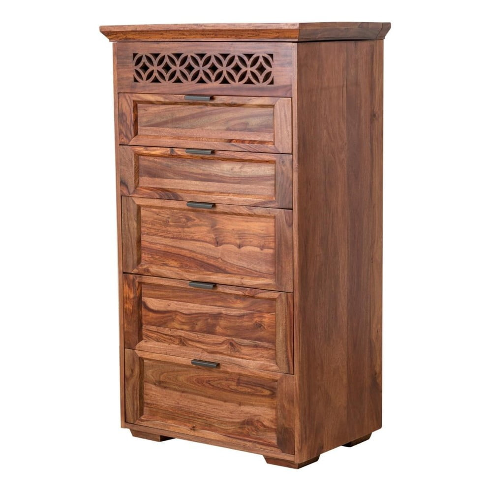 Vysoká komoda z palisandrového dřeva s 5 zásuvkami Massivě Home Rosie