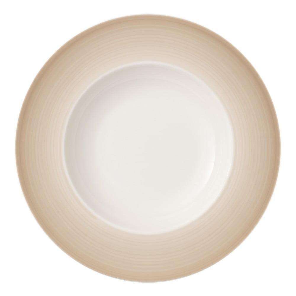 Bílo-hnědý hluboký talíř z porcelánu Villeroy & Boch Colourful Life