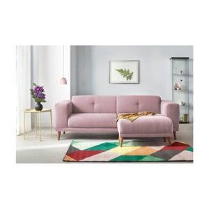 Canapea cu 3 locuri și suport pentru picioare Bobochic Paris Luna, roz