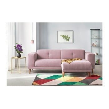 Canapea cu 3 locuri și suport pentru picioare Bobochic Paris Luna, roz de la Bobochic Paris
