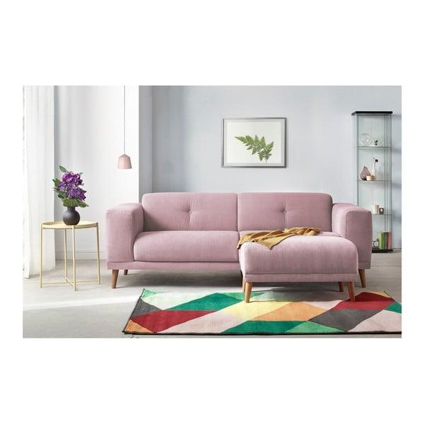 Růžová třímístná pohovka s podnožkou Bobochic Paris Luna