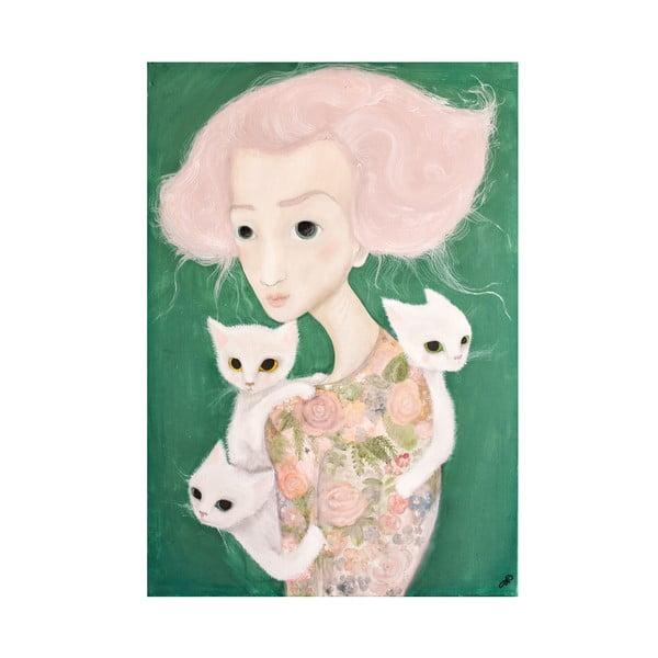Poster de autor, Léna Brauner, Domnișoara cu malvine, 60 x 82 cm
