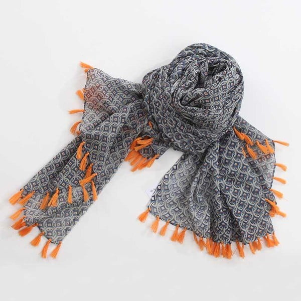 Šátek s třásněmi, oranžová