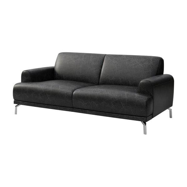 Canapea din piele cu 2 locuri MESONICA Puzo, negru
