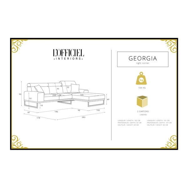 Krémová rohová pohovka s lenoškou na pravé straně L'Officiel Georgia