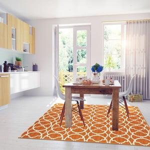Oranžový vysoce odolný koberec vhodný do exteriéru Floorita Interlaced, 133x190cm